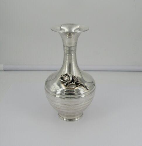 """Vintage Sterling Silver 5 3/4"""" 3D Rose Emblem Vase - No Monogram - Item# 9775"""