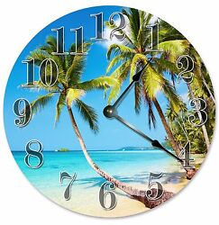 modern Beach Clocks House Warming Gift Blue BEACH PALM TREE Clock 2083