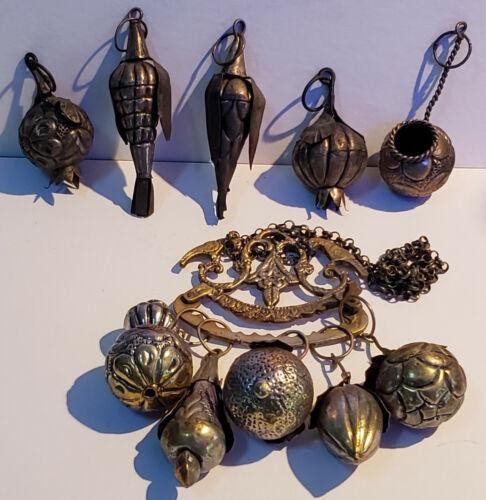 antique Brazilian penca de balangandan, handmade brass w/10 Charms