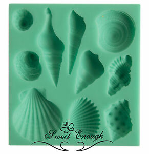 Sea Shells Flexible Silicone Mould  Mold for Fimo Sugarcraft Cupcake Toppers