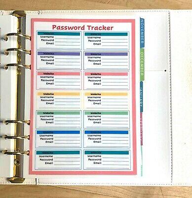 Password Organizer Dashboard Insert 4 Use With Erincondren A5 Ring Agenda