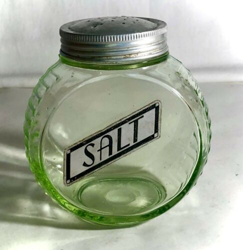 "Hocking Depression Glass 4"" Green Round Salt Shaker With Lid"