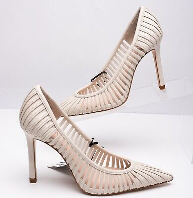 Zara Womens Strappy Heeled Pumps Heels Shoes Sz 8 Eu 39 Ecru 1206/001 NWT