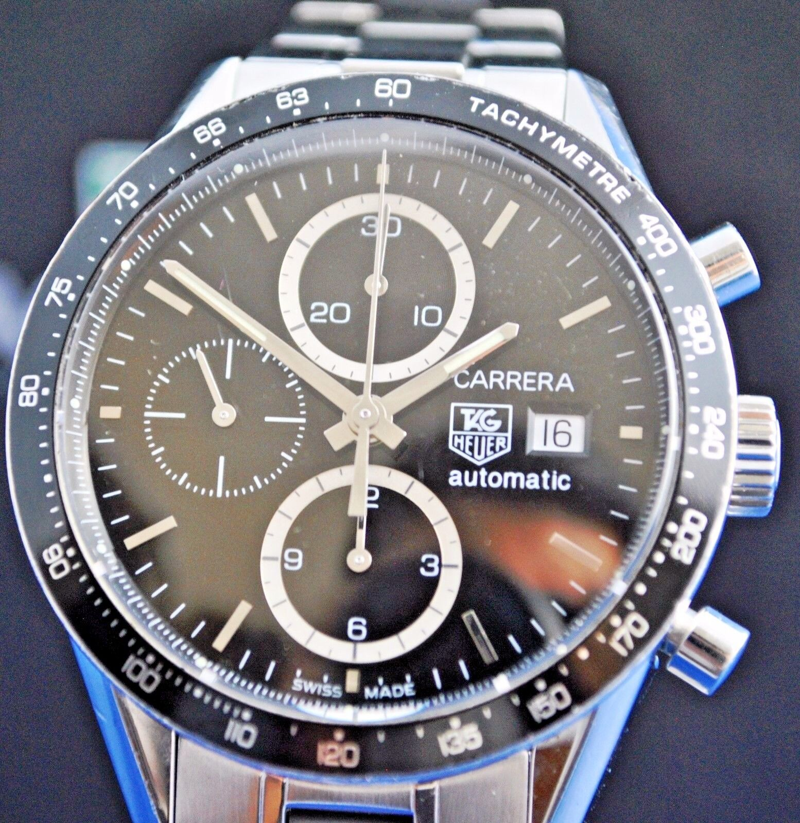 Tag Heuer Carrera CV2010-3 Automatic Chronograph Cal 16 Stainless steel watch - watch picture 1