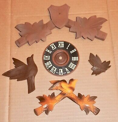 Mixed Lot of Cuckoo Clocks Parts Hunters Topper Dial Bob for parts Project Decor