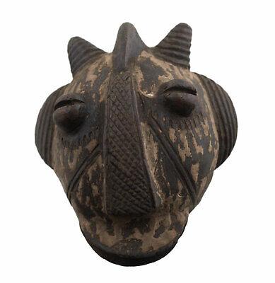 Masquette Votive Mask Diminutive Ibibio Terracotta Fetish Art African 1155