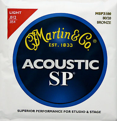 Martin Acoustic SP Guitar Strings, 80/20 Bronze, Light (.012-.054) New, 2 Sets