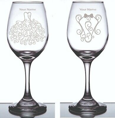 Pair Engraved Personalized Wine Glass Bride & Groom with Your