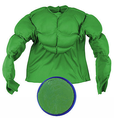Boys Green Padded Muscle Shirt Top Halloween Monster 80s Fancy Dress Costume   - 80s Halloween Costumes For Boys