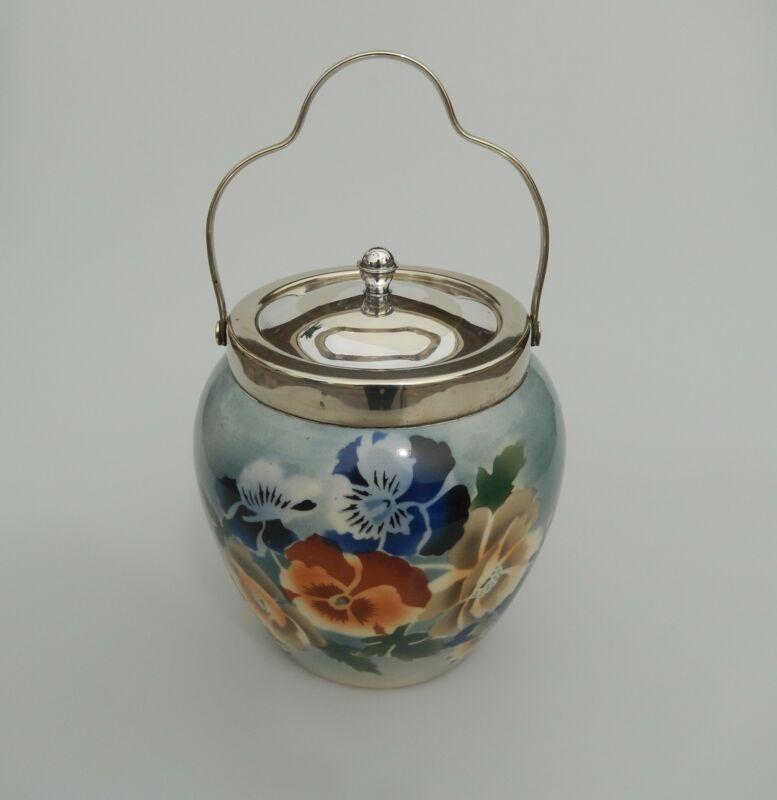 English Floral Porcelain Biscuit Jar Antique