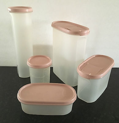 Vintage Set of 5 Tupperware Modular Mates Sheer Containers w/ Pink Lids Seals