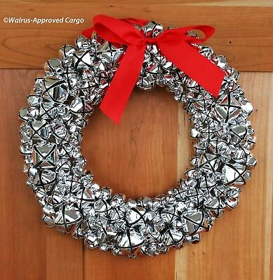 WILLIAMS-SONOMA SILVER BELL WREATH -NIB- JINGLE ALL THE WAY TO VINTAGE CHARM! ()