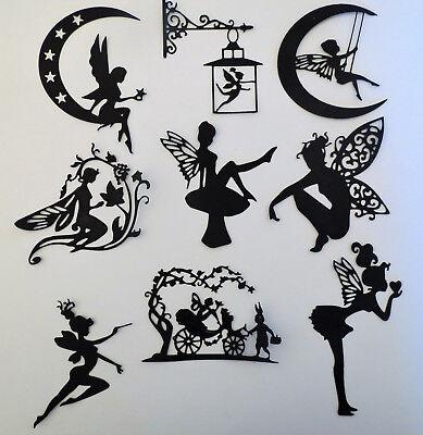 Fairies #2 Fairy Intricate Paper Die Cut Embellishments scrapbooking 9 pc Black