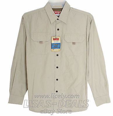 Mens Wrangler Premium Shirt Relaxed Fit Button Front Velcro Pockets Blue S M