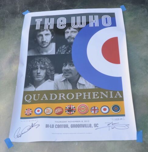 The Who Quadrophenia Signed Lithograph Poster Tour 2013 Greenville, SC