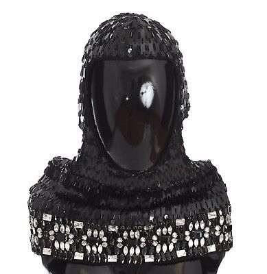 NEW $2100 DOLCE & GABBANA Hood Scarf Hat Crystal Sequined Black Knitted Wool