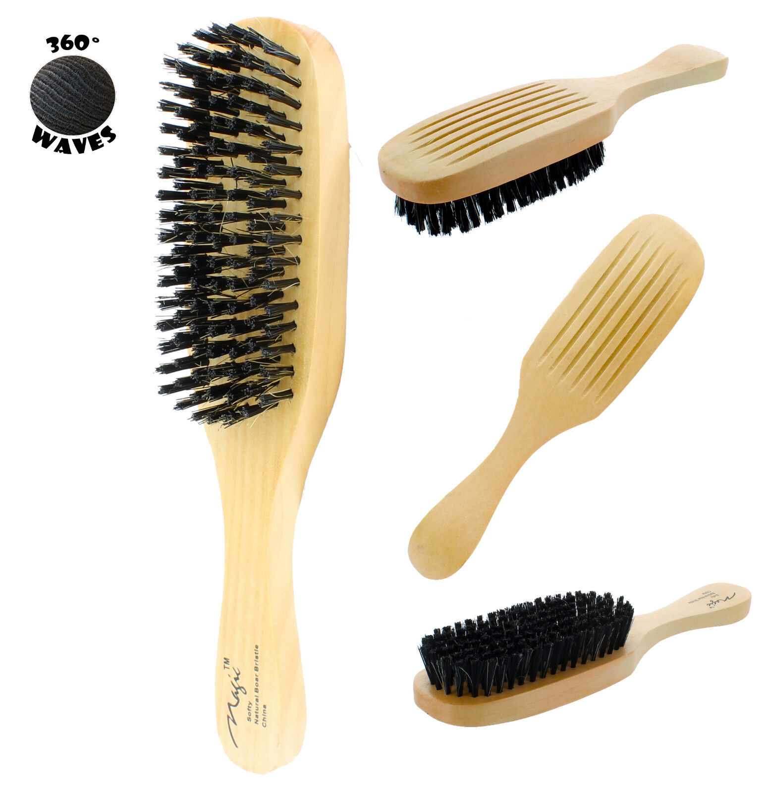 Magic Reinforced Boar Bristle Soft Wave Brush #7719