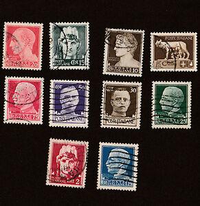 lotto-di-10-FRANCOBOLLI-REGNO-D-039-ITALIA-1929-034-SERIE-IMPERIALE-034-con-fascio-USATI