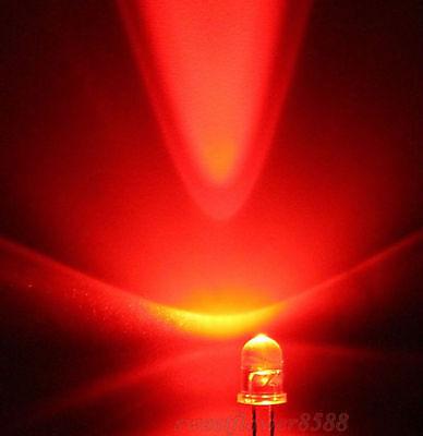 100pcs 5mm Red Led Light 5000mcd Super Bright Led Lamp New Free Shipping