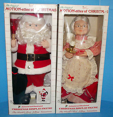 TELCO Motionettes of Christmas Santa and Mrs. Claus 1990