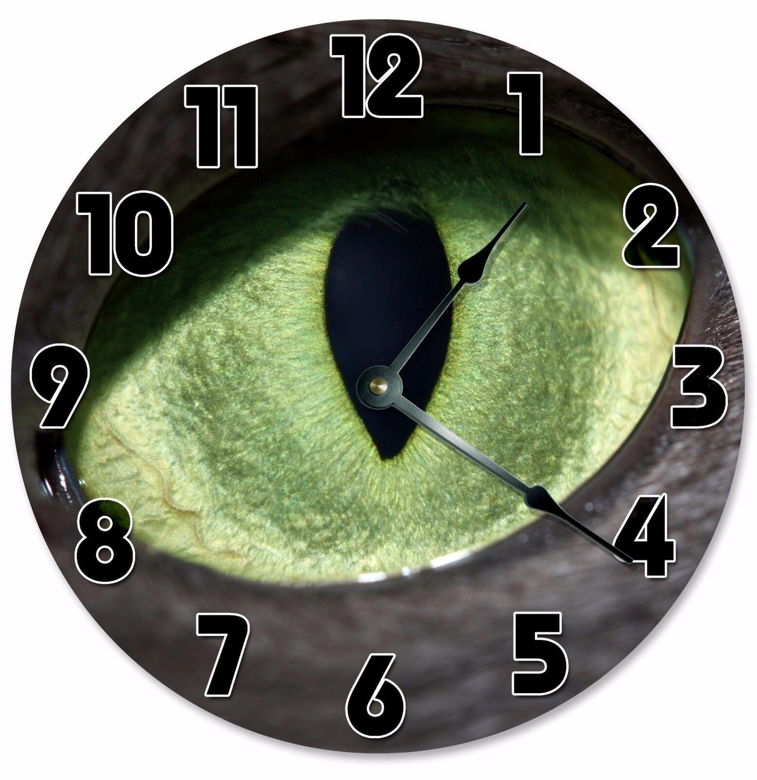 """GREEN CAT EYE Clock - Large 10.5"""" Wall Clock - 2096"""