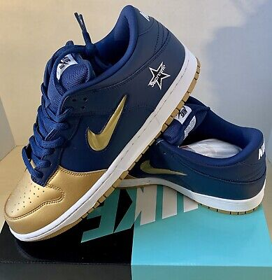 NIB DS Nike SB Dunk Low OG QS Metallic Gold/Blue Size 12 - W/ Org Nike Receipt!