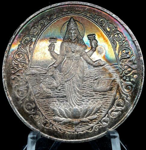 Diwali Lakshmi India Hinduism Ohm 20 Gram 38mm Toned Silver Proof Coin Puja.