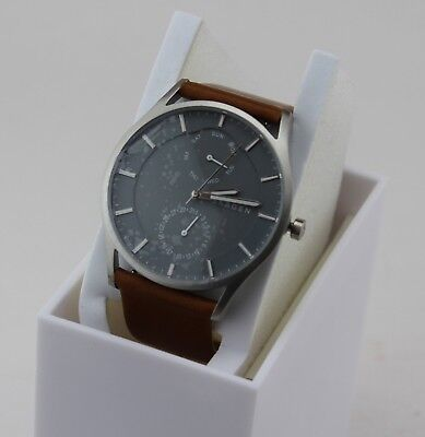 NEW AUTHENTIC SKAGEN HOLST MULTIFUNCTION SILVER BROWN LEATHER MENS SKW6264 WATCH