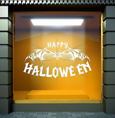 Happy Halloween Bat Art Home Shop Store Window Decor Vinyl Wall Sticker Decal