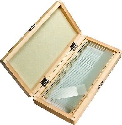 Barska 50 Pc Of Microscope Prepared Science Glass Slides In Wooden Case Af11942