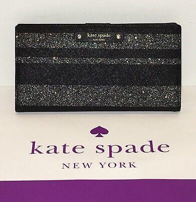 NWT Kate Spade Haven Lane Stacy Bifold Wallet Black Glitter