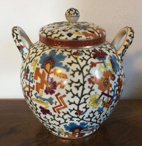 Antique 19th c. Vienna Porcelain Potpourri Vase Urn 2 Covers Aesthetic Movement