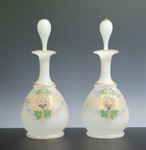 VICTORIAN PAIR BRISTOL WHITE SATIN GLASS SCENT BOTTLES ENAMELED FLORAL