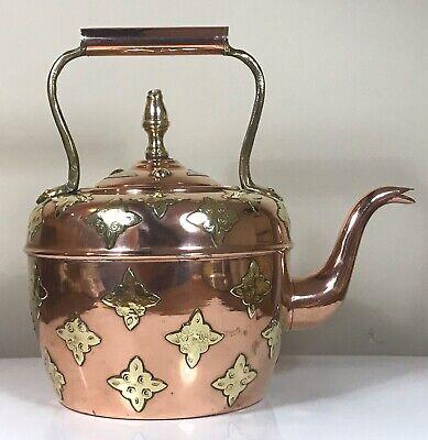 Vintage Copper & Brass Kettle Moroccan Stove Kettle Gooseneck 70s Kitchenalia