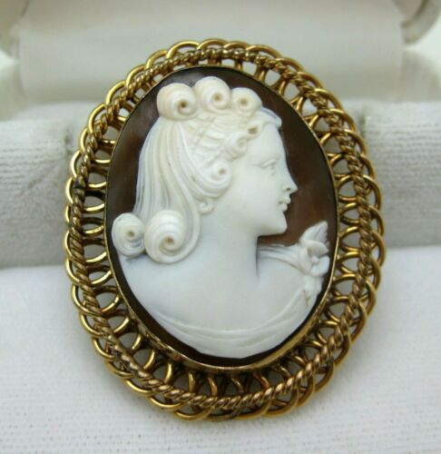 FINE VERY PRETTY LADY SHELL CAMEO GOLD FILLED FRAME PIN PENDANT