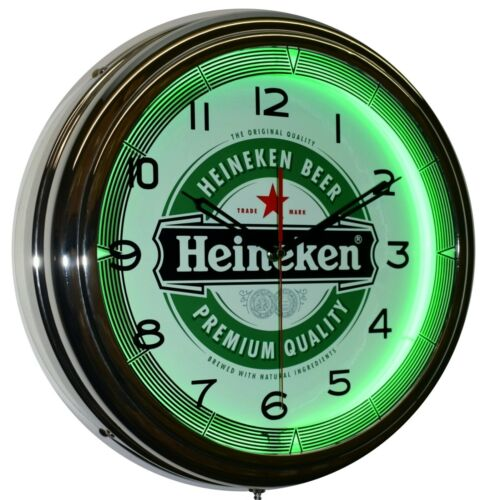 "Heineken Beer Logo 16"" Green Neon Advertising Clock Bar Pub Man Cave Decor"