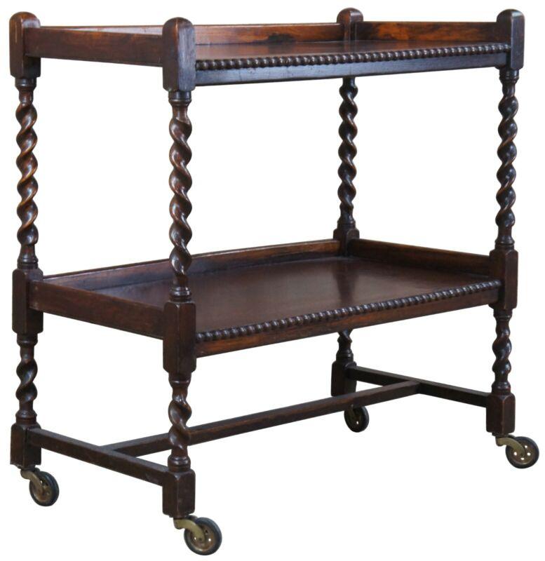Antique English Oak Barley Twisted Two Tier Rolling Bar Tea Drink Cart Trolly