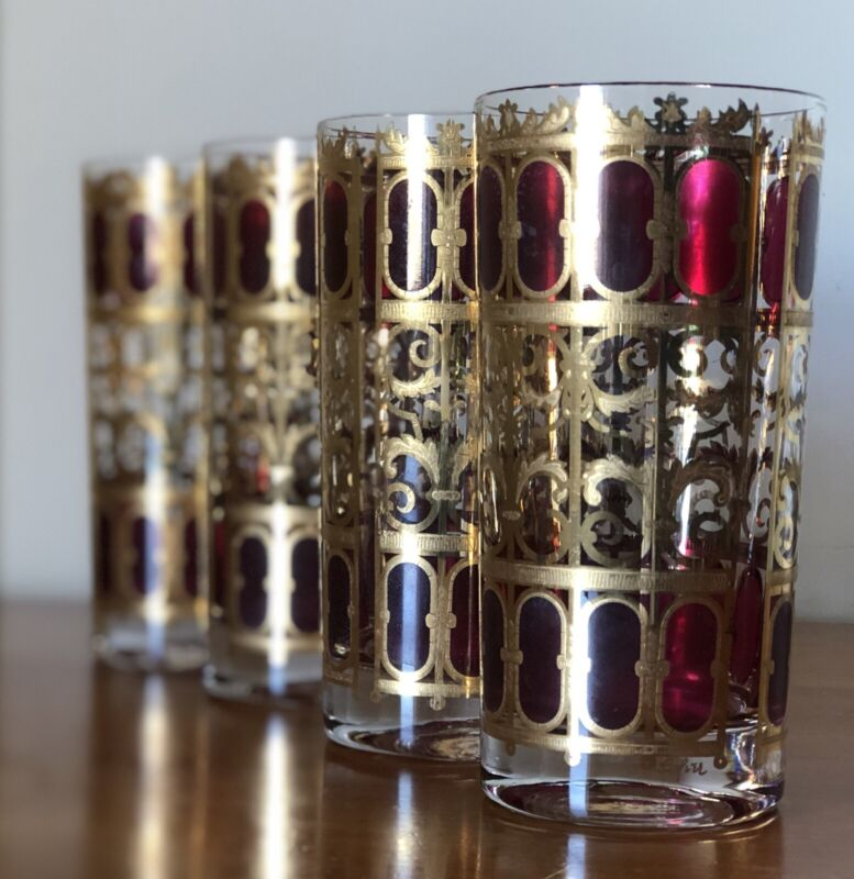 Mid Century Modern Set of 4 Culver Cranberry Scroll & Gold Tumblers Highball