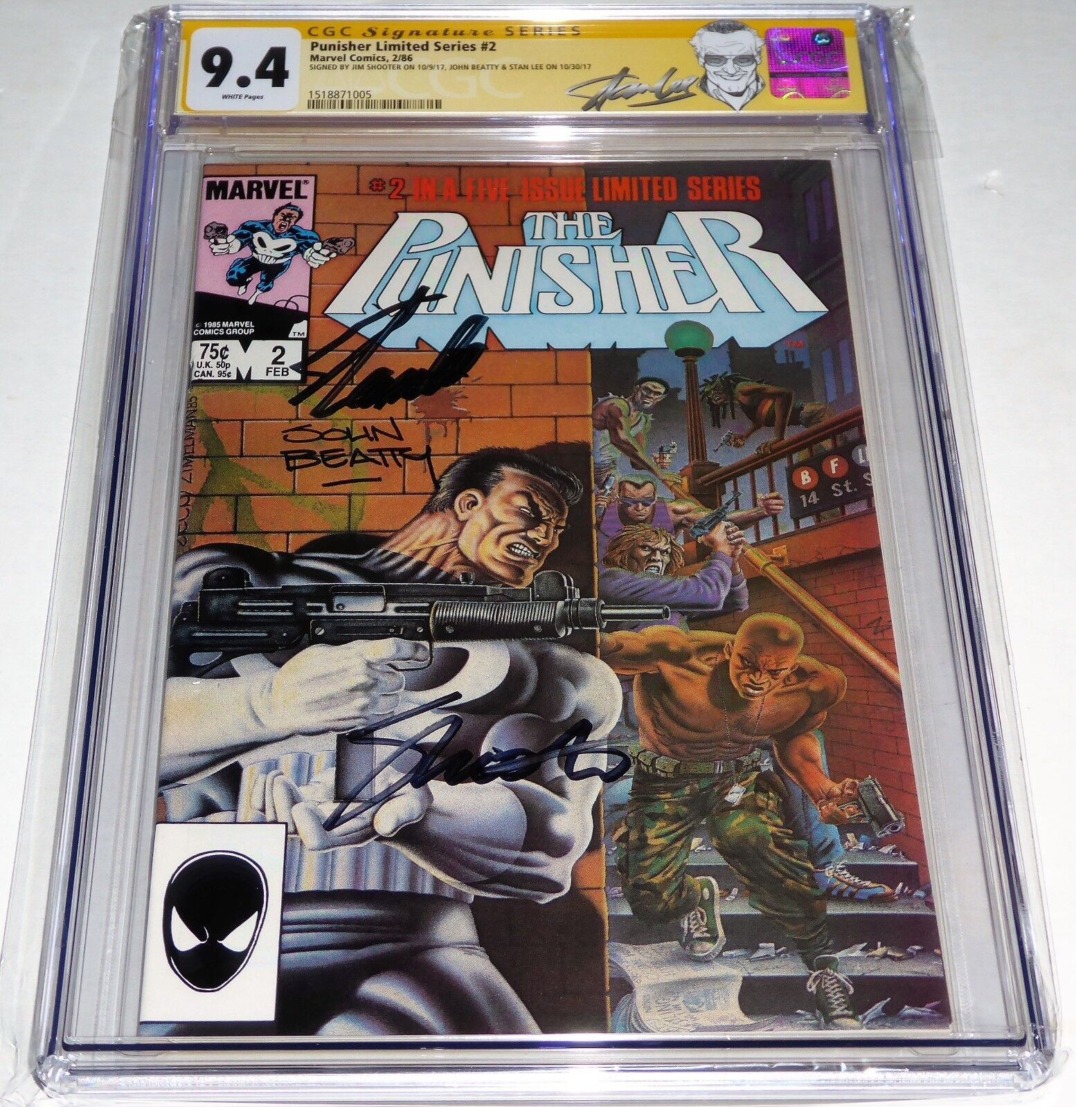 Punisher Limited Series #2 3x CGC SS Signature Autograph STAN LEE SHOOTER BEATTY