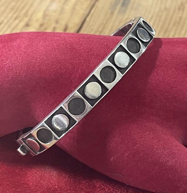 Zina Of Beverly Hills Sterling Silver Hinged Bracelet Modernist Geometric 36.7g