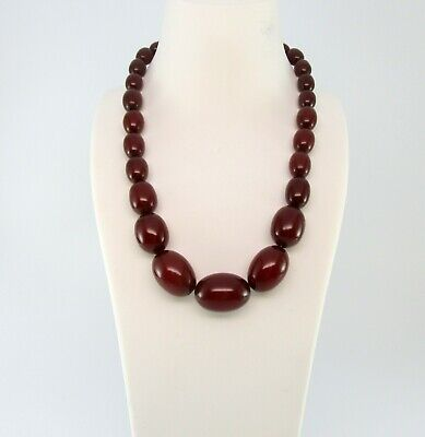 Antique Cherry (Antique Cherry Amber Bakelite Necklace Olive Shape Beads Simichrome N819)