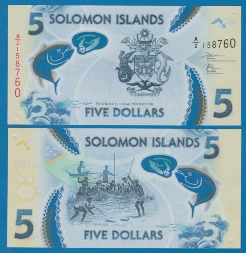 Solomon Islands 5 Dollars P New 2019 Polymer UNC Low Shipping! Combine FREE!