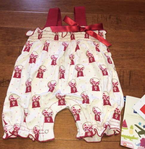 Kickee Pants Infant Girl Natural Gumball Gathered Romper 0-3