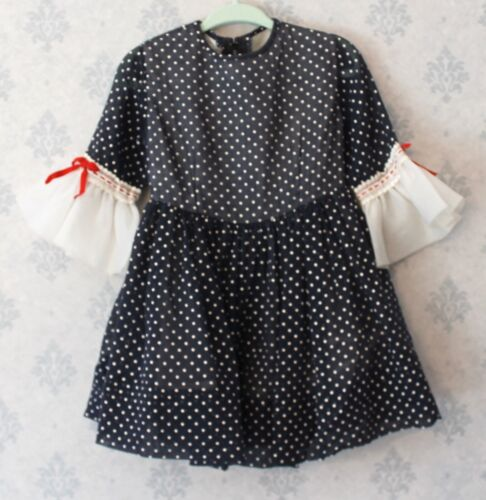 Vintage 1960s Navy Blue, Red and White Polka Dot Young Girl