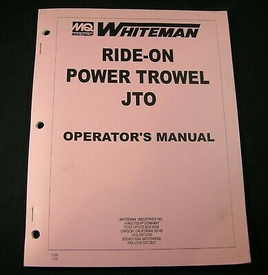 Mq Multiquip Whiteman Ride On Power Trowel Jto Operators Maintenance Manual Book