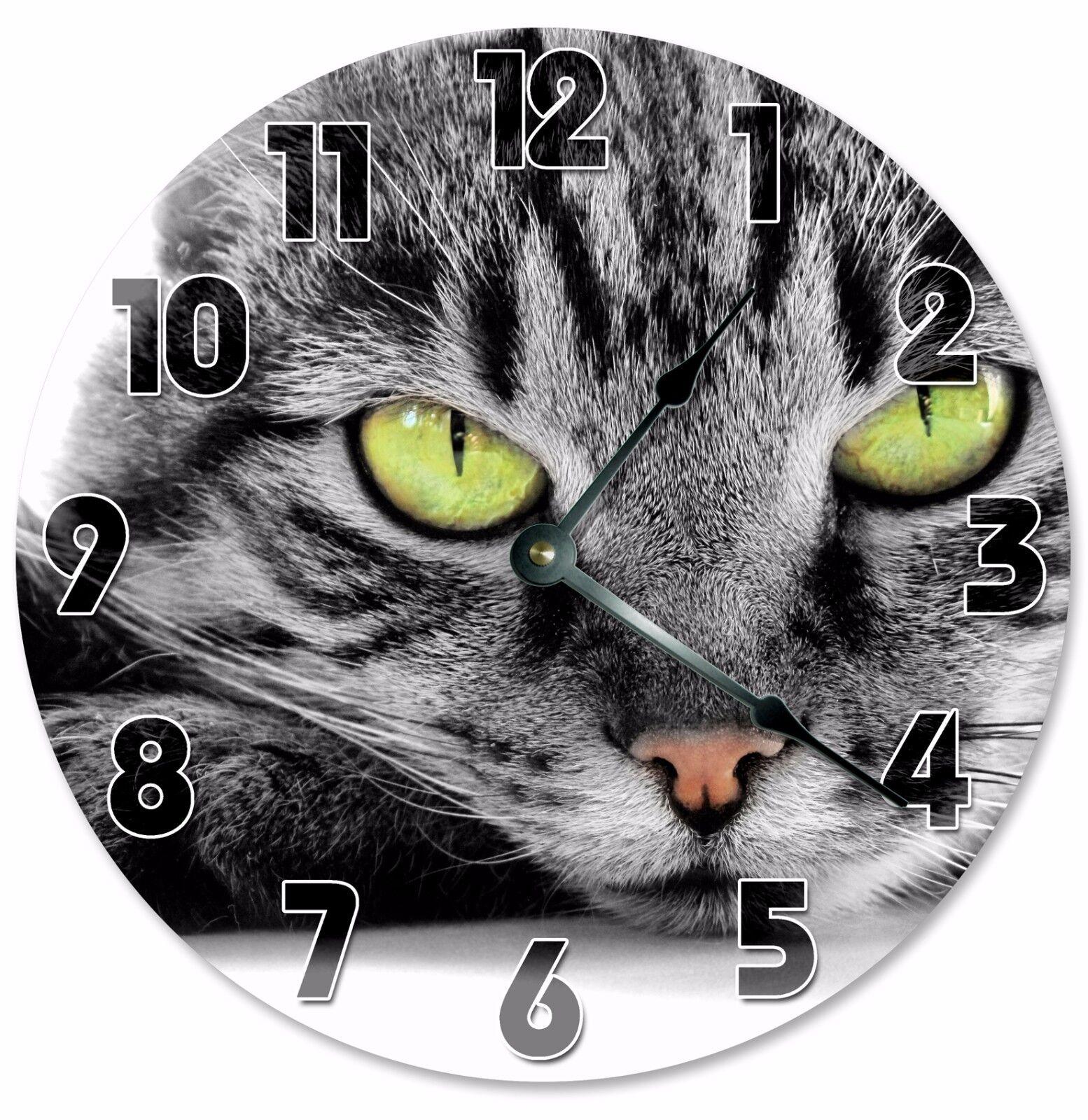 "GREEN EYED CAT Clock - Large 10.5"" Wall Clock - 2097"