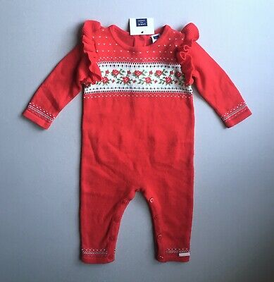 JANIE AND JACK NWT Baby Girls 3-6 Mo Red Sweater Knit Floral Romper Christmas