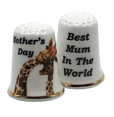 Mother's Day Cute Giraffe Thimble, Best Mum In The World China Gift (Best Porcelain In The World)