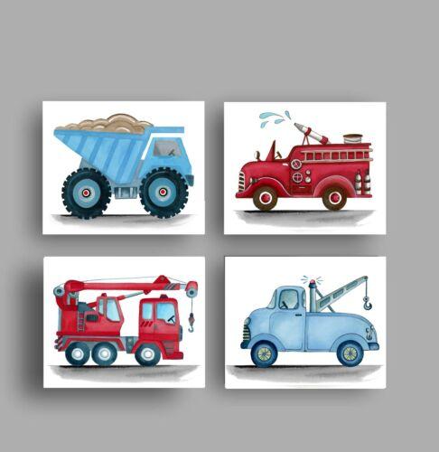 construction trucks wall art decor for boy nursey or bedroom