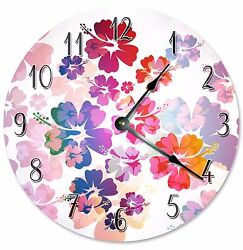 HIBISCUS FLOWERS Clock - Large 10.5 Wall Clock - 2289